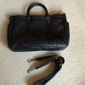 Coach Black Pebbled Leather Brief w Strap